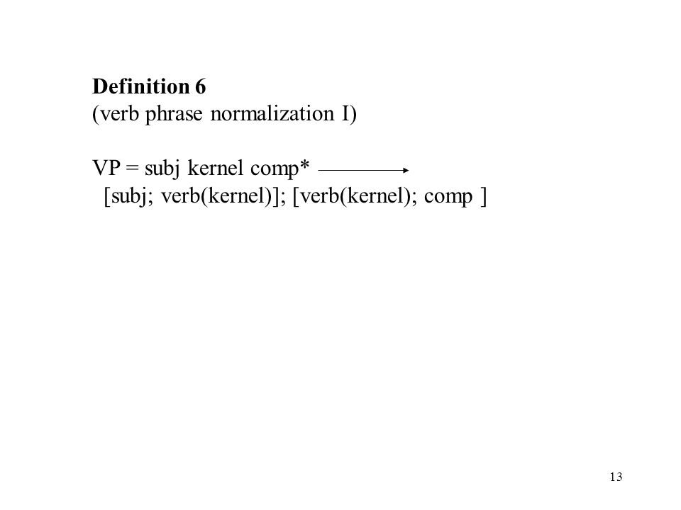 Definition 6 (verb phrase normalization I) VP = subj kernel comp* [subj; verb(kernel)]; [verb(kernel); comp ]